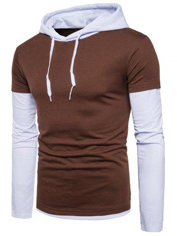Color Block Panel Faux Twinset Hoodie - Coffee - M