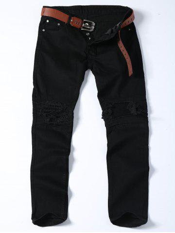 Slim Fit Distressed Biker Jeans - Black - 36