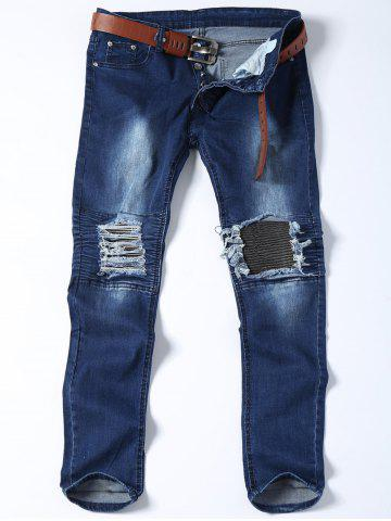 Slim Fit Distressed Biker Jeans Bleu 36