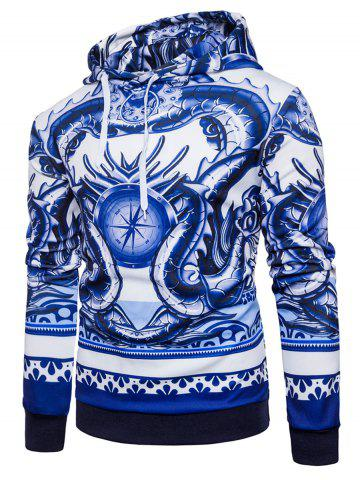 3D Dragon Compass Print Pullover Hoodie - Blue - S