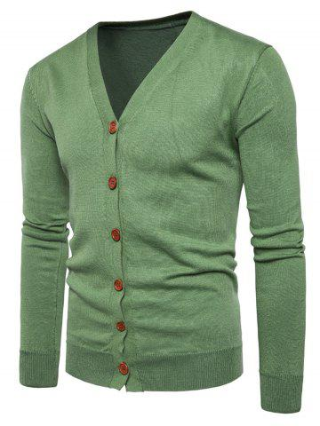 Knitting V Neck Button Up Cardigan - Green - M