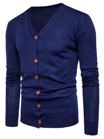 Knitting V Neck Button Up Cardigan - Cadetblue - M