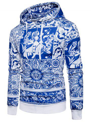 Blue and White Porcelain Print Hoodie - Blue - S
