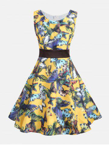 Outfits Butterfly Print Sleeveless Pin Up Dress - S COLORMIX Mobile