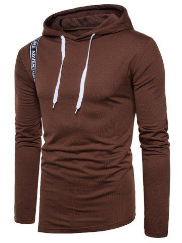 Graphic Selvedge Embellished Pullover Hoodie - Coffee - M