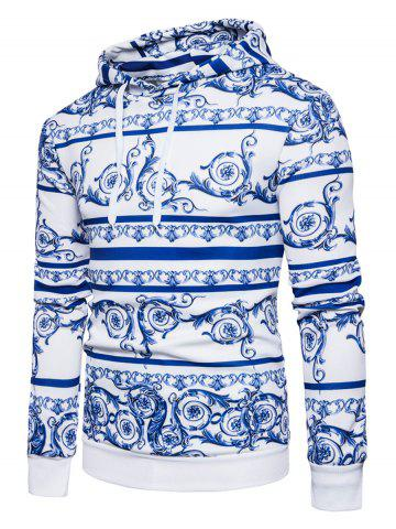 Chinoiserie Florals Print Pullover Hoodie - Blue - S