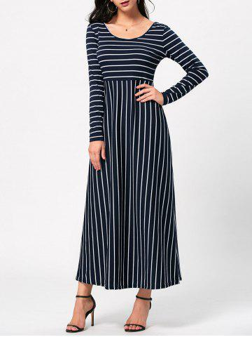 Empire Waist Long Sleeve Striped Maxi Dress - Colormix - M