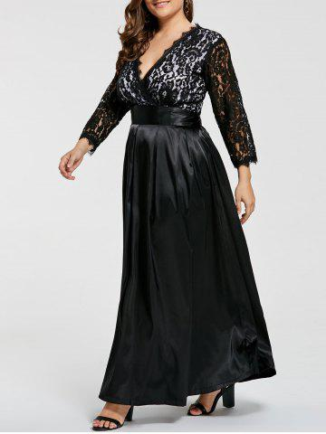 Lace Sleeve V Neck Plus Size Maxi Formal Dress - Black - 7xl