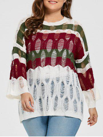 Plus Size Stripe See Through Ripped Sweater - Wine Red - One Size