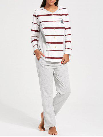 Button Up Striped Nursing Cotton PJ Set - Red With White - M