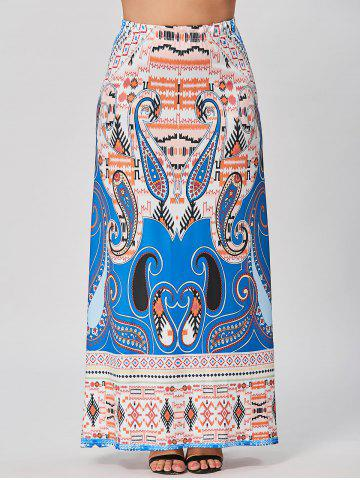 Plus Size Printed Maxi Bohemian Skirt - Blue - 5xl