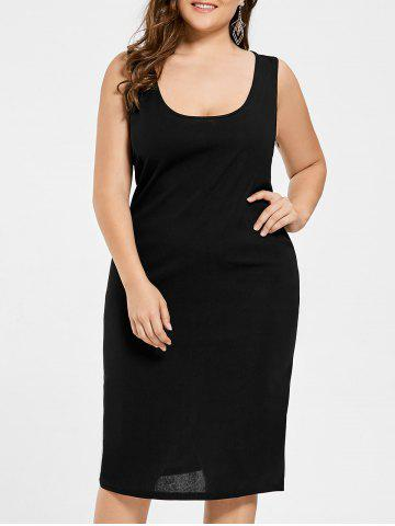 Plus Size U Neck Basic Tank Dress - Black - 3xl