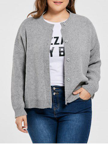 Plus Size Drop Shoulder Button Up Cardigan - Gray - One Size