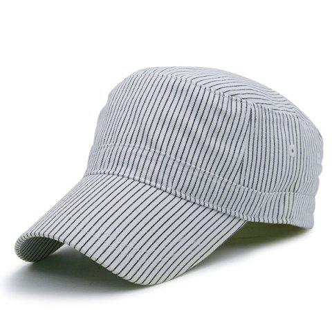 Flat Top Pinstriped Military Hat - White - S