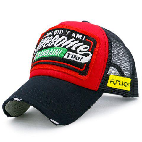 Mesh Splicing Letters Patchwork Baseball Hat - Red With Black - One Size