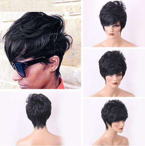 Buy Short Side Bang Shaggy Layered Slightly Curly Human Hair Wig