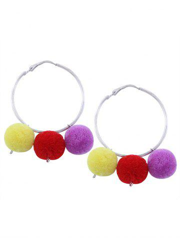 Pompon Fuzzy Ball Circle Hoop Earrings - Silver