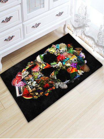 Cheap Bathroom Skidproof Skull Printed Area Rug BLACK W20 INCH * L31.5 INCH