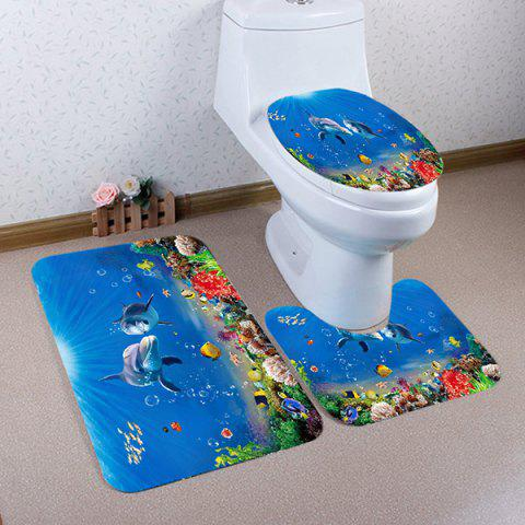 Ocean Dolphin Pattern Ensemble de toilette 3 pcs