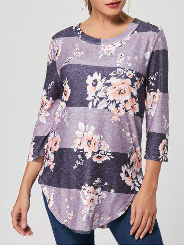 Unique Casual Striped Floral Print Long Tee GRAY S
