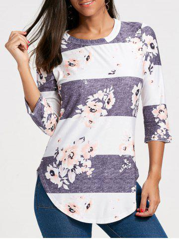 Fancy Casual Striped Floral Print Long Tee
