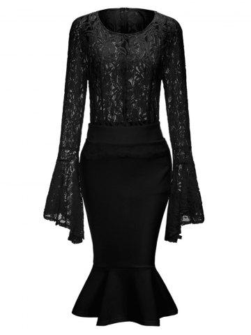 Lace Bell Sleeve Top and Mermaid Skirt - Black - 2xl