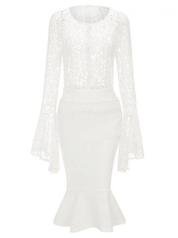 Lace Bell Sleeve Top and Mermaid Skirt - White - S