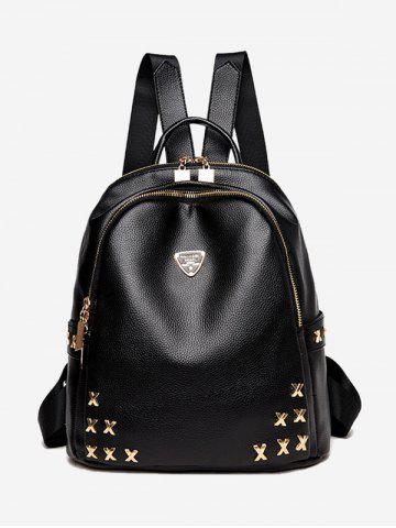 Metal Embellished Textured Leather Backpack - Black