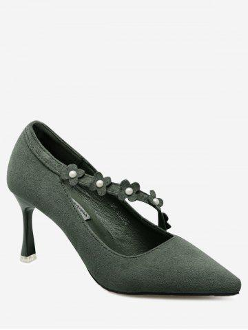 Online Pointed Toe Flowers Faux Pearls Pumps - 39 GREEN Mobile