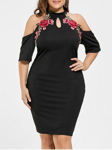 Plus Size Embroidered Cold Shoulder Keyhole Dress - Black - 3xl