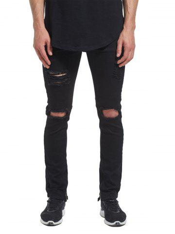 Ankle-zip Distressed Jeans - Black - 34