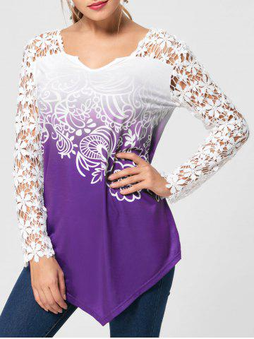 Shop Ombre Lace Yoke Long Sleeve Blouse - M PURPLE Mobile
