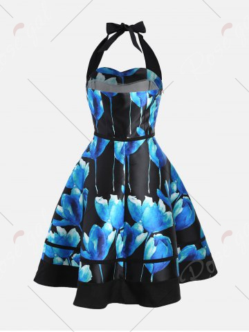 Fancy Flower Ink Print Halter 50s Swing Dress - L COLORMIX Mobile