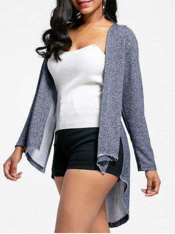 High Low Hooded Knit Slit Coat - Gray - Xl