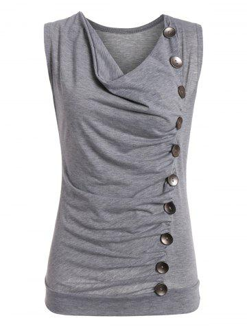 Casual Side Button Drape Neck Tank Top