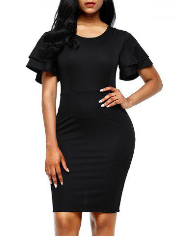 Latest Layered Sleeve Bodycon Back Slit Dress BLACK XL