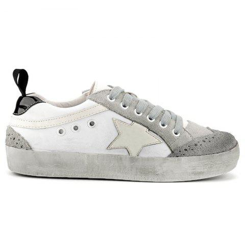 Chic Star Color Block Lace Up Sneakers - 38 GRAY Mobile