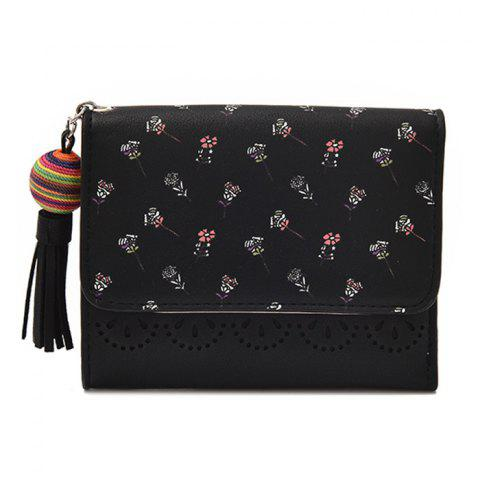Tassel Floral Design Tri Fold Wallets - Black