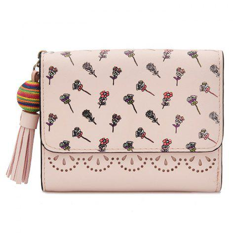 Tassel Floral Design Tri Fold Wallets ROSE PÂLE