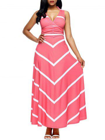 Back Cut Out Chevron Stripe Maxi Dress - Pink - S