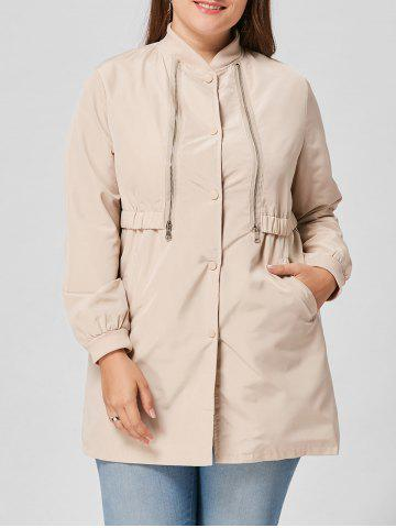 Zip Embellished Plus Size Coat - Light Beige - 4xl