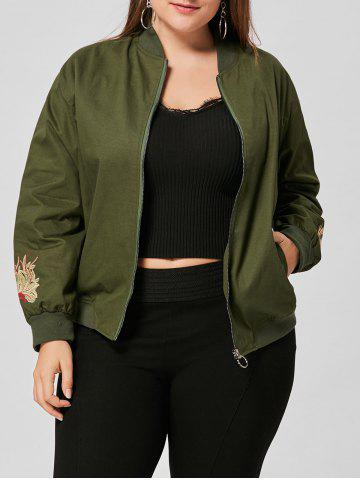 Outfit Floral Embroidered Plus Size Jacket ARMY GREEN XL