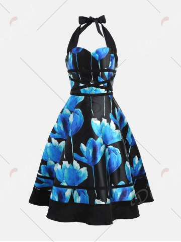 Outfit Flower Ink Print Halter 50s Swing Dress - S COLORMIX Mobile