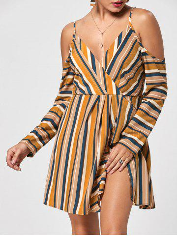 Striped Side Slit Cold Shoulder Dress - Colormix - S