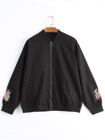Floral Embroidered Plus Size Jacket - Black - Xl