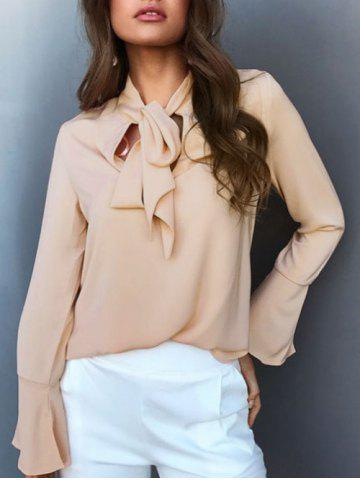 Bow Collar Flare Sleeve Chiffon Top