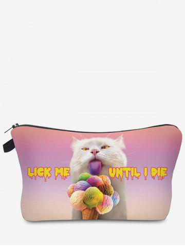 Sale 3D Cat Printed Clutch Makeup Bag PINKISH PURPLE