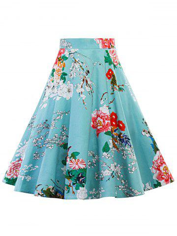 Trendy Floral Print High Waisted Midi Skirt LAKE BLUE S