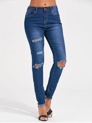 Chic Distressed Skinny Cut Out Jeans BLUE 2XL