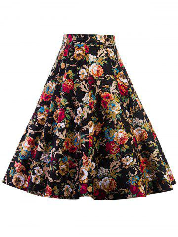 Shop High Waist Floral Midi Pleated Skirt - S FLORAL Mobile